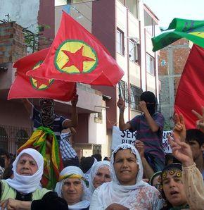 PKK bayraklı protesto