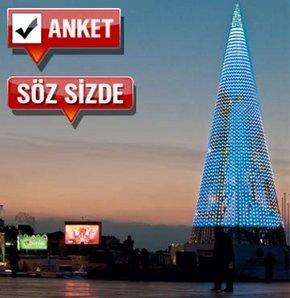 Taksim meydanında dev metal ağaç!