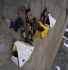 634881 detay - Dağcılar, 1200 metrelik uçurumda kamp kurdu