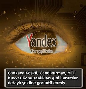 Yandex, MİT, genelkurmay, Google Earth, Çankaya Köşkü, NATO, Yandex Europe BV