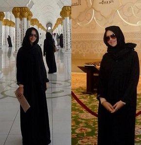 Hadise Abu Dhabi'de kara çarşaflı