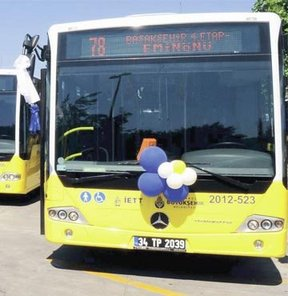 İstanbul Büyükşehir Belediyesi İETT otobüsü sarı otobüs İBB Başkanı Kadir Topbaş