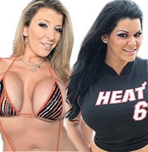 """Twitter'da 2 porno yıldızı Sara Jay ve Angelina Castro final öncesinde takipçilerine """"Eğer Miami şampiyon olur ve LeBron James yüzük takarsa tüm takipçilerimize oral seks yapacağız"""" diye söz verdi."""