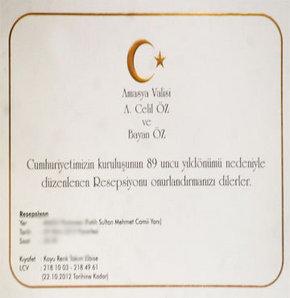 Amasya Valliği tarafından Cumhuriyet'in 89'uncu yıldönümü nedeniyle verilecek resepsiyon davetiyesindemekân olarak bir pastanenin adresi yer aldı.