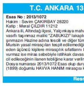 T.C. ANKARA 13.SULH HUKUK MAHKEMESİ'NDEN