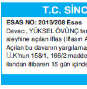 T.C. SİNCAN ASLİYE TİCARET MAHKEMESİNDEN