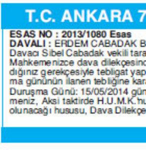 T.C. ANKARA 7. AİLE MAHKEMESİNDEN / BAŞKANLIĞINDAN