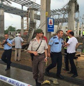 Sakarya arifiye'de hızlı tren istasyonunda iskele çöktü, sakarya arifiye'de hızlı tren istasyonu inşaatında göçük meydana geldi