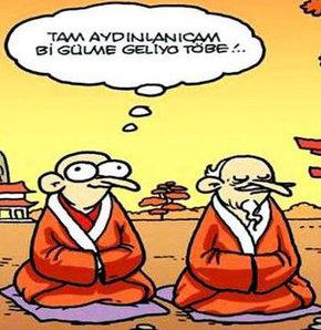 Yoga ve meditasyon karikatürleri
