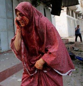 İsrail'in Şucaiye bombardımanında kayda alınan video, insanların çaresizliğini gözler önüne seriyor.