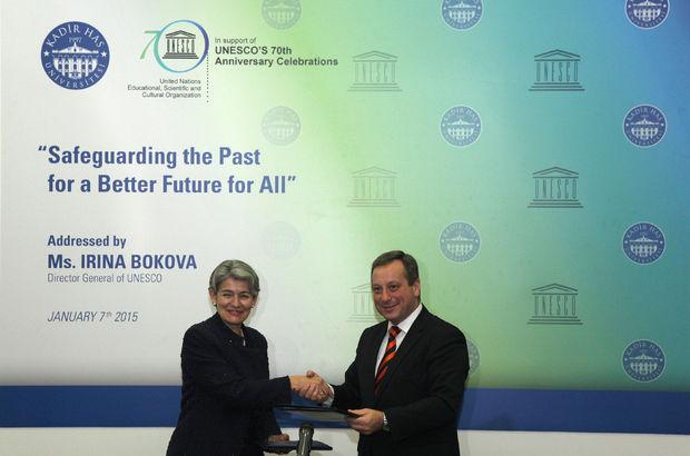 UNESCO Kadir Has Üniversitesi, Mustafa Aydın, UNESCO, Irina Bokova, Dünya Miras Alanlarının korunması
