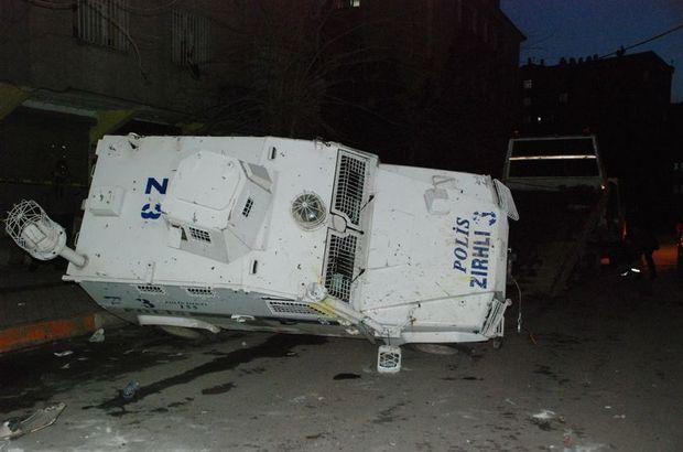 DBP yürüşü sonrası çıkan olaylarda bir polis aracı takla attı Diyarbakır, DBP , Kayapınar ilçesi, Huzurevleri mahallesi