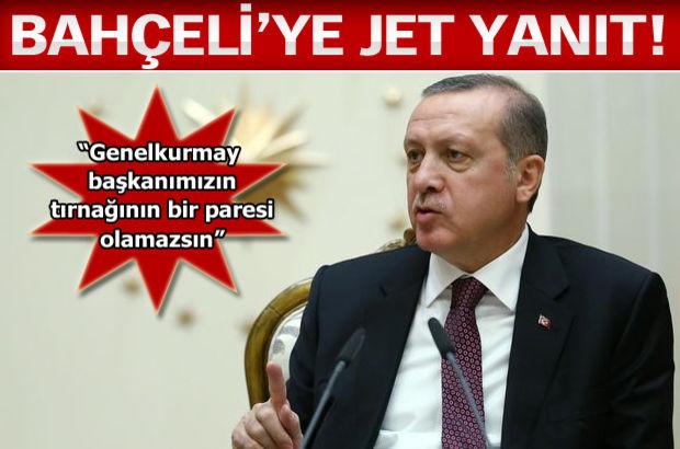 Cumhurbaşkanı Erdoğan, sert sözlerle Genelkurmay Başkanı Necdet Özel'i eleştiren Devlet Bahçeli'ye yanıt verdi