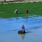 Göle dönen tarlalarında balık tutuyorlar