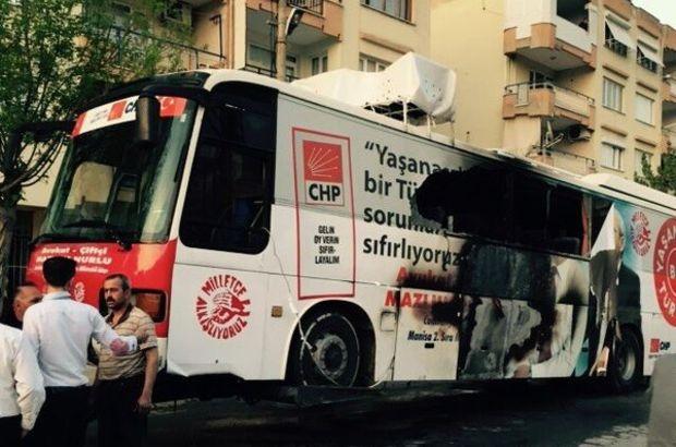 CHP seçim otobüsü yandı!