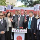 Oktay Vural'ın İzmir'deki basın toplantısında gerginlik