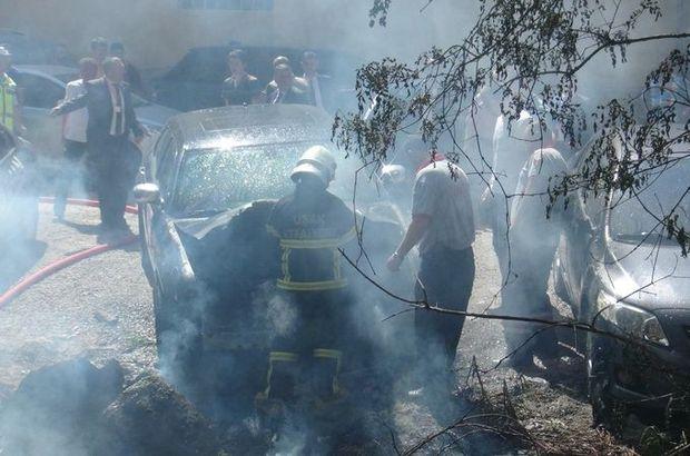 Milletvekili adayının otomobilinde yangın