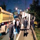 Ümraniye-Şile yolunda kamyon devrildi