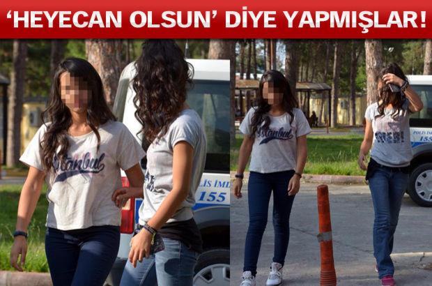 Liseli kızlar polise yakalandı!
