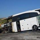 Tosya'da yolcu otobüsü alev alev yandı