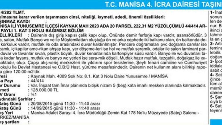 T.C. MANİSA 4. İCRA DAİRESİ TAŞINMAZIN AÇIK ARTIRMA İLANI