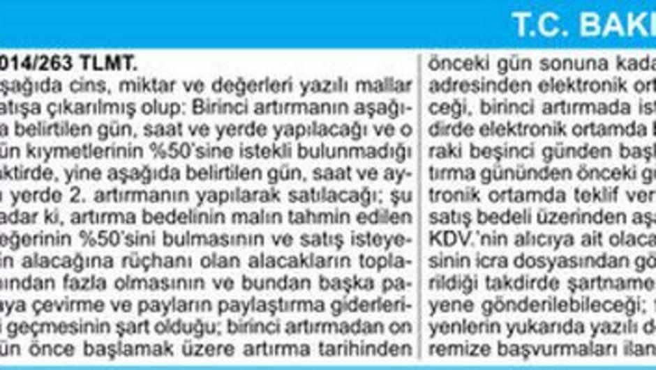 T.C. BAKIRKÖY 10 İCRA DAİRESİ TAŞINIRIN AÇIK ARTIRMA İLANI