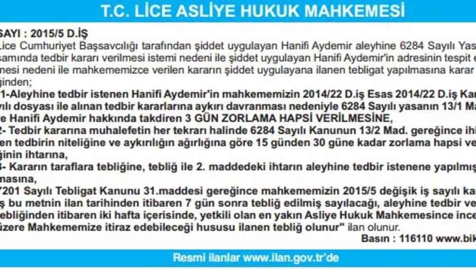 T.C. LİCE ASLİYE HUKUK MAHKEMESİ