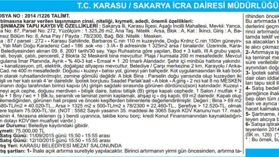 T.C. KARASU / SAKARYA İCRA DAİRESİ MÜDÜRLÜĞÜ TAŞINMAZIN AÇIK ARTIRMA İLANI