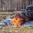 Yanan helikopterdeki pilot koşarak kurtuldu