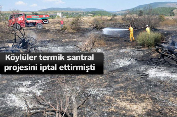 Soma'da termik santral arazisinde yangın çıktı