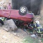 Otomobil şarampole devrildi, içinde kimse bulunamadı