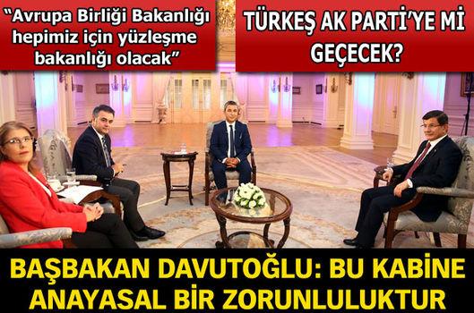 Başbakan Davutoğlu: Bu kabine, anayasal zorunlulukla oluşturuldu