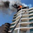 Konya'da 8 katlı binada yangın paniği
