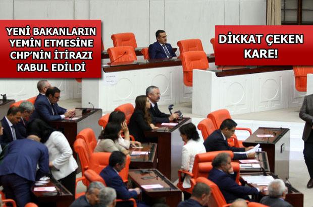 Meclis'te yemin krizi çözüldü! Bakanlar yemin etti