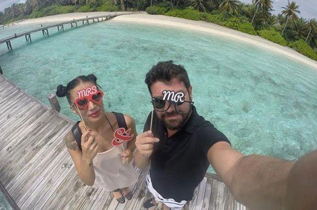 İrem Derici ile eşi Rıza Esendemir, tatil için Maldivler'e gitti