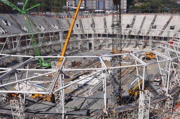 Beşiktaş'ın yeni stadı Vodafone Arena'nın çatı inşaatı iskeletinin tamamen kapatıldığı ve monte edildiği bildirildi