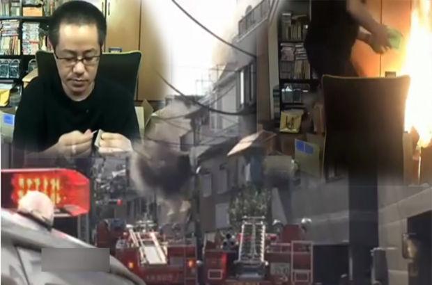 İnternetten yayın yaparken evini yaktı