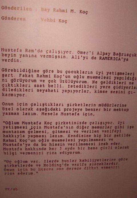 Vehbi Koçun Mustafa Koç Için Yazdığı Mektup Fortune Turkey