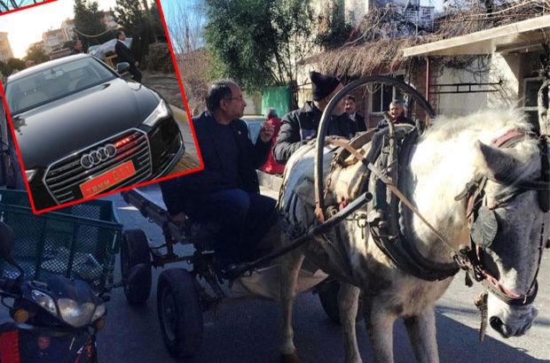 Kırmızı plakayı bırakıp at arabasına bindi