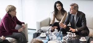 George Clooney'den Merkel'e ziyaret