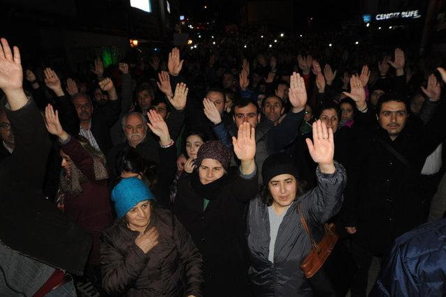Cerattepe için Valilik önünde ışıklı protesto