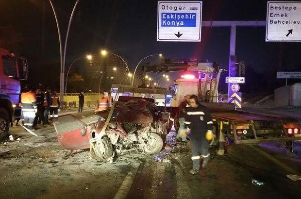 Ankara'daki trafik kazasında araç 6 parçaya ayrıldı 1 kişi öldü