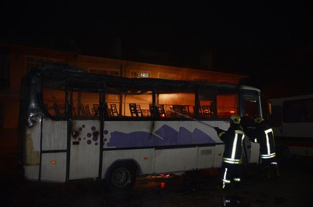 Konya'da midibüste yangın