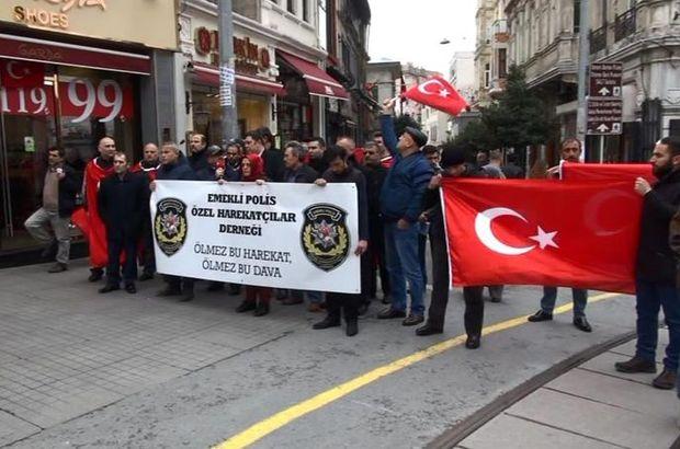 Emekli Özel Harekatçılar teröre karşı İstiklal Caddesi'nde yürüdü