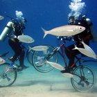 Fethiye'de iki dalgıç su altına indirdikleri bisikletle gezinti yaptı