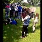 Sakarya'da kız öğrencilerin kavgası kamerada