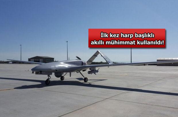 Yerli İnsansız Hava Aracı (İHA) Bayraktar, harp başlıklı füze ile silahlı atış yaptı