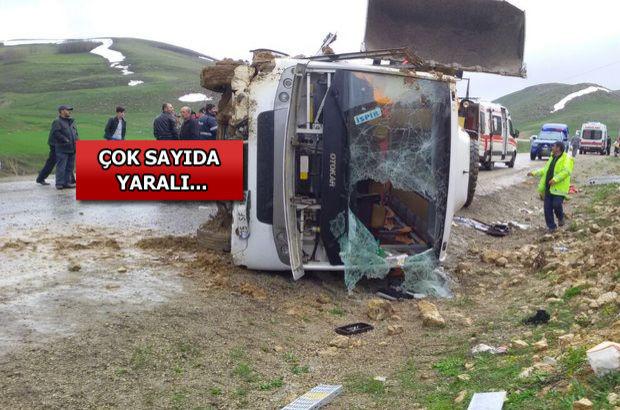 Korkunç kaza! Yolcu otobüsü devrildi