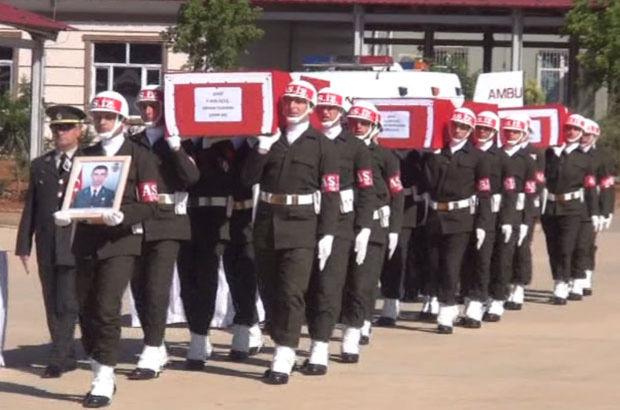 Nusaybin şehitleri Erhan Yıldırım, Hasan Kahraman ve Hasan Basri Tek için askeri tören düzenlendi