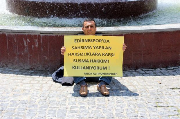 Melih Altınok, Edirnespor'dan parasını alamadığı için eylem yaptı!